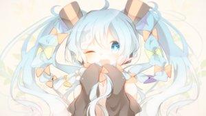 Rating: Safe Score: 65 Tags: blue_eyes blue_hair blush bow chibi fuyuzuki_gato hatsune_miku long_hair twintails vocaloid wink User: FormX
