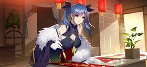 Rating: Safe Score: 47 Tags: blue_hair breasts chinese_clothes chinese_dress cleavage daye_bie_qia_lian dress gloves long_hair romantic_saga_of_beauty_&_devil twintails wristwear yellow_eyes User: otaku_emmy