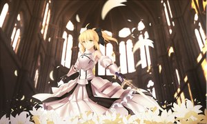 Rating: Safe Score: 117 Tags: armor artoria_pendragon_(all) blonde_hair bow fate_(series) fate/unlimited_codes flowers petals ponytail saber saber_lily sword weapon yeluno_meng User: Flandre93