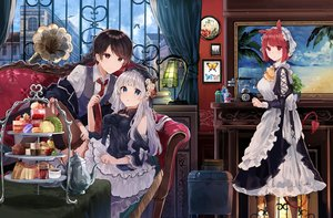 Rating: Safe Score: 45 Tags: animal_ears apron blue_eyes brown_hair building cake clouds couch drink flowers food goth-loli hat headband ikeuchi_tanuma lolita_fashion long_hair maid male original purple_eyes red_eyes red_hair rose short_hair sky stockings tail tie white_hair User: BattlequeenYume