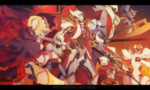 Rating: Safe Score: 29 Tags: fire group katana mecha miitarou original pixiv_fantasia spear sword weapon User: RyuZU
