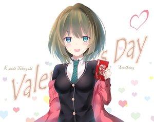 Rating: Safe Score: 22 Tags: blue_eyes blush chocolate heart idolmaster_cinderella_girls seedkeng seifuku short_hair takagaki_kaede tie User: Flandre93