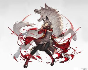 Rating: Safe Score: 21 Tags: animal animal_ears arknights boots brown_eyes gray_hair jun_wei photoshop projekt_red_(arknights) signed tail weapon wolf wolfgirl User: Nepcoheart