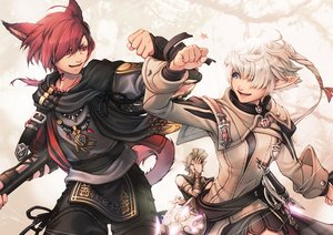 Rating: Safe Score: 15 Tags: alisaie_leveilleur animal_ears blue_eyes catgirl elezen final_fantasy final_fantasy_xiv gloves g'raha_tia gray_hair long_hair male mihira_(tainosugatayaki) miqo'te red_eyes red_hair scarf tail tattoo urianger_augurelt weapon User: SciFi