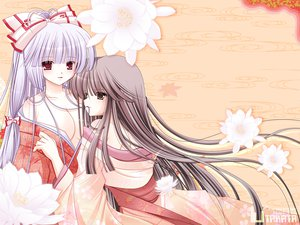 Rating: Safe Score: 44 Tags: 2girls breasts cleavage flowers fujiwara_no_mokou hiyori-o houraisan_kaguya japanese_clothes kimono no_bra red_eyes touhou User: HawthorneKitty