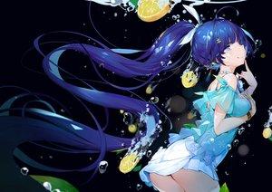 Rating: Safe Score: 84 Tags: aqua_eyes ass blue_hair bubbles dark dress food fruit honkai_impact leaves long_hair ponytail raiden_mei underwater water yamano_(yamanoh) User: BattlequeenYume