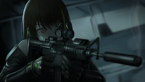 Rating: Safe Score: 78 Tags: anthropomorphism brown_eyes brown_hair close dark girls_frontline gloves gun m4a1_(girls_frontline) tararelux weapon User: otaku_emmy