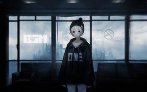 Rating: Safe Score: 34 Tags: aqua_eyes bakaouzi999 dark gray_hair hat hoodie original short_hair User: RyuZU