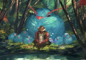 Rating: Safe Score: 101 Tags: animal aqua_eyes arizuka_(13033303) bird butterfly dark_skin forest halo hat horns long_hair male original sport tattoo tree water watermark white_hair User: otaku_emmy
