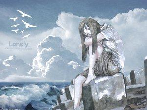 Rating: Safe Score: 8 Tags: animal bird brown_hair clouds shorts sky tsuruta_kenji water User: Oyashiro-sama
