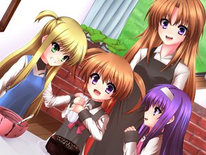 Rating: Safe Score: 66 Tags: alisa_bannings apron blonde_hair blue_eyes brown_hair food green_eyes ishibashi long_hair mahou_shoujo_lyrical_nanoha purple_eyes purple_hair seifuku takamachi_momoko takamachi_nanoha tsukimura_suzuka twintails User: SciFi