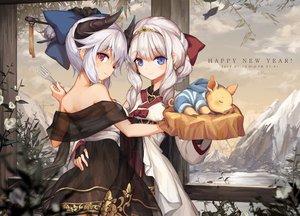 Rating: Safe Score: 71 Tags: 2girls animal blue_eyes clouds dress horns hug jakoujika original purple_eyes sky tiara white_hair User: RyuZU
