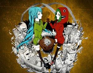 Rating: Safe Score: 81 Tags: blue_hair city green_hair gumi hatsune_miku long_hair matryoshka_(vocaloid) short_hair thighhighs twintails vocaloid User: Katsumi
