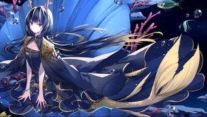 Rating: Safe Score: 48 Tags: animal black_hair brown_eyes bubbles dress fish horns long_hair mermaid original underwater water zhen_panxie User: BattlequeenYume