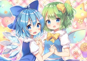 Rating: Safe Score: 39 Tags: aqua_eyes aqua_hair blush bow cirno daiyousei dress fairy fang flowers green_hair honoka_chiffon loli petals ponytail short_hair touhou wings User: RyuZU