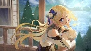 Rating: Safe Score: 84 Tags: aliasing blonde_hair blue_eyes blush long_hair original saraki signed tree water User: BattlequeenYume