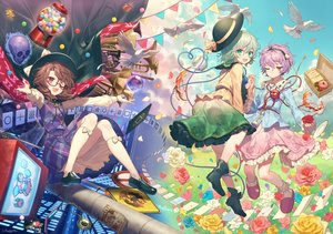 Rating: Safe Score: 52 Tags: animal bird boots bow brown_hair candy clouds dress drink flowers food glasses green_eyes green_hair hat hata_no_kokoro headband ibara_kasen instrument kikugetsu kirisame_marisa kneehighs komeiji_koishi komeiji_satori lollipop petals pink_hair red_eyes short_hair signed skull sky touhou usami_sumireko wink User: luckyluna