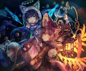 Rating: Safe Score: 122 Tags: all_male animal_ears aqua_eyes black_hair book cage catboy gray_hair hat headphones mage magic male orange_eyes scarf shigaraki_(strobe_blue) short_hair tail tattoo tie wings witch witch_hat User: otaku_emmy
