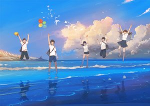 Rating: Safe Score: 19 Tags: animal bird black_eyes black_hair brown_hair clouds group hanasei long_hair male original reflection short_hair skirt sky water User: RyuZU