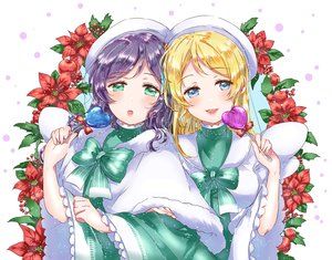 Rating: Safe Score: 21 Tags: 2girls ayase_eri blonde_hair blue_eyes breasts green_eyes kaisou_(0731waka) long_hair love_live!_school_idol_project purple_hair toujou_nozomi User: FormX