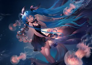 Rating: Safe Score: 170 Tags: animal aqua_eyes aqua_hair deep-sea_girl_(vocaloid) dress fish hatsune_miku headphones lian_yao long_hair microphone signed twintails underwater vocaloid water User: RyuZU