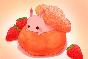 Rating: Safe Score: 50 Tags: animal blush daikichi_(pixiv13506351) food fruit gradient original pink rabbit signed strawberry User: otaku_emmy