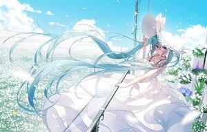 Rating: Safe Score: 114 Tags: aqua_eyes aqua_hair bai_yemeng clouds dress flowers hat hatsune_miku long_hair petals sky twintails vocaloid User: BattlequeenYume