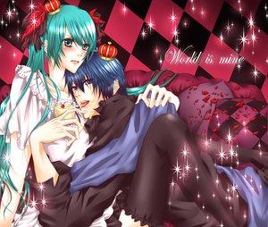 Rating: Safe Score: 12 Tags: hatsune_miku kaito twintails vocaloid world_is_mine_(vocaloid) User: HawthorneKitty
