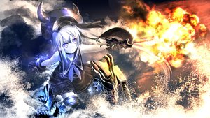 Rating: Safe Score: 3 Tags: collar destroyer_hime gloves gun kantai_collection kouji_(astral_reverie) long_hair purple_eyes water weapon white_hair User: Maboroshi