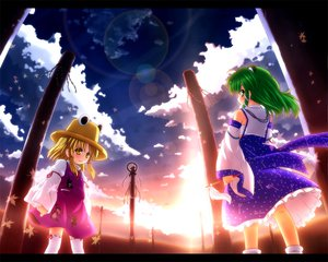 Rating: Safe Score: 14 Tags: blonde_hair clouds dress etogami_kazuya green_eyes hat japanese_clothes kochiya_sanae leaves long_hair miko moriya_suwako ribbons short_hair sky thighhighs touhou yasaka_kanako yellow_eyes User: 秀悟