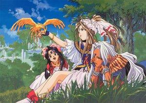 Rating: Safe Score: 19 Tags: aa_megami-sama animal belldandy bird skuld urd User: Oyashiro-sama