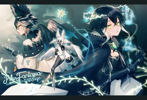 Rating: Safe Score: 22 Tags: asuda black_hair dark_skin elbow_gloves fairy feathers flat_chest glasses gloves green_eyes long_hair original pixiv_fantasia wings User: RyuZU