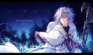 Rating: Safe Score: 21 Tags: all_male fate/grand_order fate_(series) gray_hair male merlin_(fate/grand_order) mokoppe night purple_eyes short_hair staff stars User: RyuZU