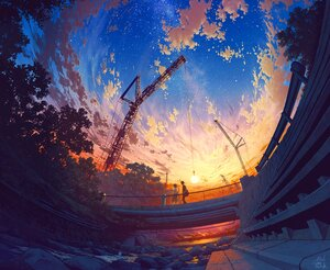 Rating: Safe Score: 87 Tags: clouds cropped dark drink grass industrial male mocha_(cotton) original short_hair signed skirt sky stairs stars sunset water User: otaku_emmy