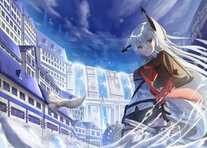 Rating: Safe Score: 52 Tags: animal animal_ears bird building city foxgirl garter gray_hair katana long_hair original red_eyes shorts sword tagme_(artist) tail water waterfall weapon white_hair User: luckyluna