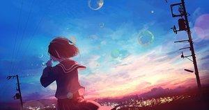 Rating: Safe Score: 48 Tags: bubbles mifuru original scenic school_uniform sunset User: FormX