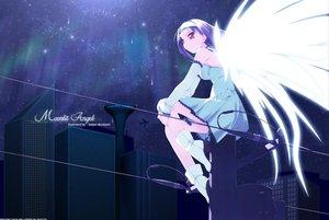 Rating: Safe Score: 26 Tags: aircraft angel black_hair boots building city dark dress murakami_suigun night red_eyes stars wings User: Oyashiro-sama