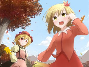 Rating: Safe Score: 24 Tags: aki_minoriko aki_shizuha autumn blonde_hair hat leaves natsu_no_koucha red_eyes short_hair sky touhou tree User: HawthorneKitty