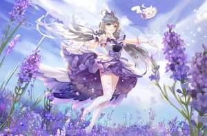 Rating: Safe Score: 28 Tags: bow clouds dress flowers garter_belt gloves gray_hair green_hair lattesong long_hair luo_tianyi sky stockings twintails vocaloid vocaloid_china zettai_ryouiki User: mattiasc02