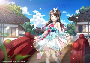 Rating: Safe Score: 44 Tags: aqua_eyes brown_hair building chinese_clothes clouds dress long_hair moong_gya original petals skirt_lift sky tree watermark User: otaku_emmy