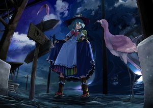 Rating: Safe Score: 55 Tags: animal aqua_hair bird boots bow city clouds gloves hat hinanawi_tenshi night red_eyes short_hair skirt_lift sky touhou tree waira water User: Flandre93