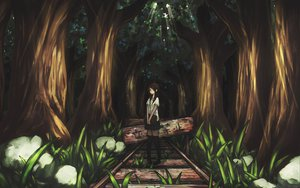 Rating: Safe Score: 110 Tags: banajune brown_hair forest long_hair original scenic school_uniform tree User: SonicBlue