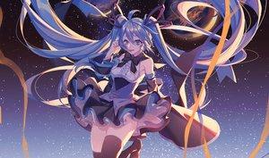Rating: Safe Score: 39 Tags: ayan dress hatsune_miku long_hair planet stars vocaloid zettai_ryouiki User: FormX