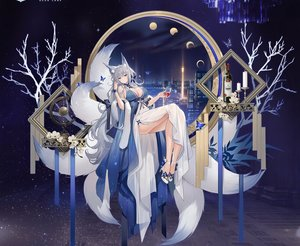 Rating: Safe Score: 83 Tags: animal_ears azur_lane blue_eyes blush breasts building butterfly city cleavage cropped dress drink flowers foxgirl gray_hair long_hair moon multiple_tails night shinano_(azur_lane) sky soaryuna tail User: BattlequeenYume