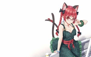 Rating: Safe Score: 85 Tags: animal_ears braids breasts catgirl cleavage cropped dress dtvisu glasses kaenbyou_rin long_hair multiple_tails necklace photoshop red_eyes red_hair tail touhou twintails wristwear User: RyuZU
