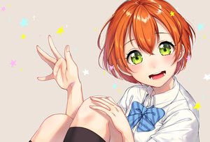 Rating: Safe Score: 29 Tags: bow green_eyes hoshizora_rin kneehighs love_live!_school_idol_project orange_hair seifuku short_hair stars umeno_(shio1205) User: RyuZU