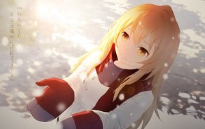 Rating: Safe Score: 101 Tags: aisaka_taiga blonde_hair cangkong gloves long_hair scarf snow toradora translation_request winter yellow_eyes User: Flandre93