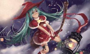 Rating: Safe Score: 67 Tags: aqua_eyes aqua_hair blue_eyes blue_hair christmas hat hatsune_miku long_hair newnand night santa_costume snow stars twintails vocaloid witch_hat User: humanpinka
