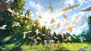 Rating: Safe Score: 20 Tags: animal bird clouds grass hat inika instrument original scenic signed sky tree User: FormX