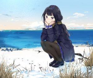 Rating: Safe Score: 68 Tags: akiru_(igel-flutter) black_hair clouds grass long_hair original pantyhose purple_eyes scarf scenic school_uniform skirt sky snow water User: RyuZU
